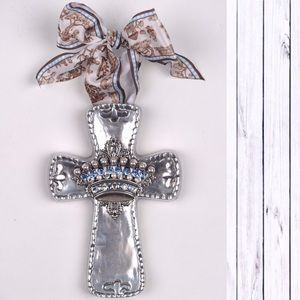 Silver Metal Rhinestone Crown Wall Cross